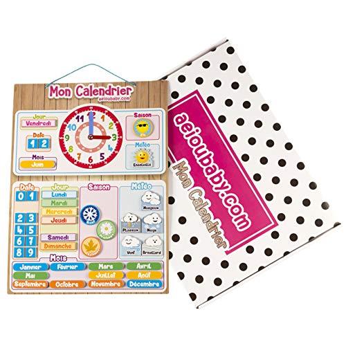 CALENDARIO OROLOGIO magnetico per bambini, Gioco educativo Data Tempo e Ora per Parete o Frigorifero,...
