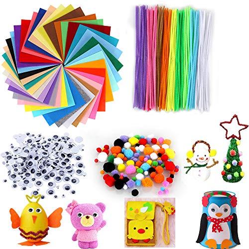 Adkwse 540 pezzi kit fai da te per bambini, 40 colori feltro + 100 fili di ciniglia + 200 pompon + 200...