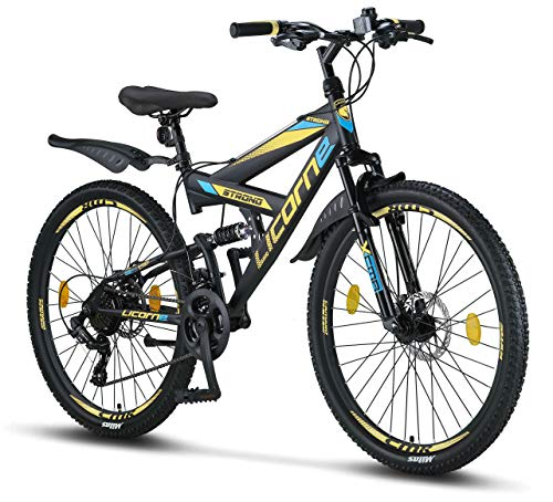 Licorne Bike Strong D 26' Mountain Bike Fully, Adatto a Partire da 150 cm, Freno a Disco Anteriore e...