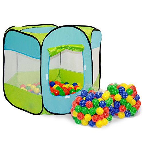 LittleTom Tenda Gioco Pop-up 100x100x72cm incl 200 Palline Colorate Azzurro