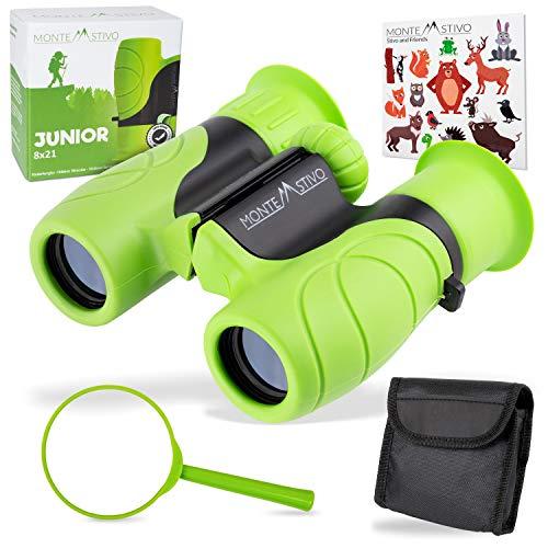 Monte Stivo ® Junior | Binocolo per Bambini 8X21 | Leggero Compatto | Kit Regalo per Piccoli esploratori...