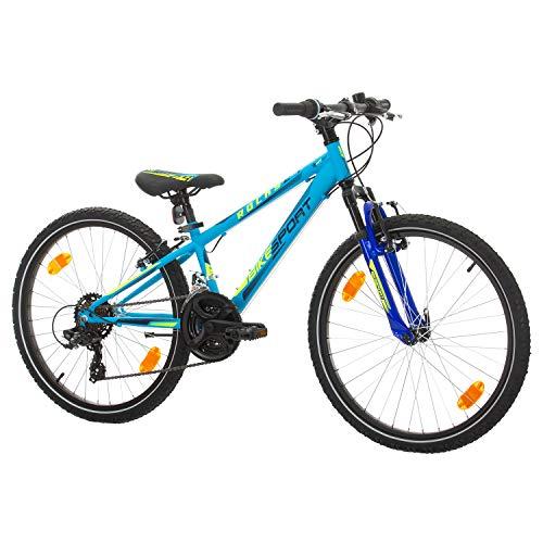 BIKE SPORT LIVE ACTIVE Bikesport Rocky 24' Bicicletta per Bambini Mountainbike, Shimano 18 cambios (Blue...
