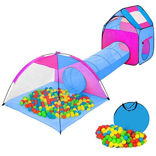 TecTake Tenda Igloo per bambini con tunnel + 200 palline + tenda tascabile – Tenda da gioco con palline...