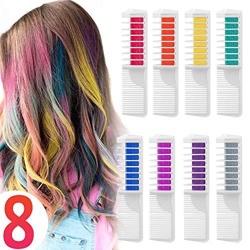 Capelli Gesso Pettine Capelli Temporanea Gesso, Wolady 8 Colore Pettine Instant Hair Chalk Capelli...
