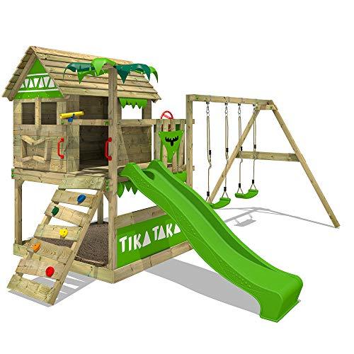 FATMOOSE Parco giochi in legno TikaTaka Town XXL Giochi da giardino con altalena SuperSwing e scivolo,...