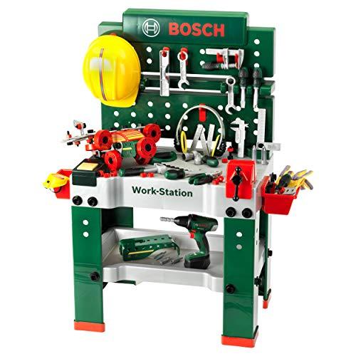 Theo Klein- Banco da Lavoro n. 1 Bosch, 150 Pezzi, incl. Avvitatore a Batteria, Set da Costruzione,...
