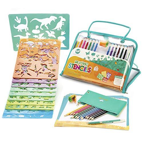 Creabow Crafts Kit stencil bambini e matite colorate – Colori per bambini e kit disegno con stencil...