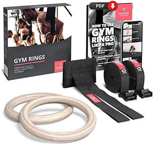 BeMaxx Fitness Anelli da Ginnastica Fissaggio per Porta & Programma di Allenamento – Set in Legno per...