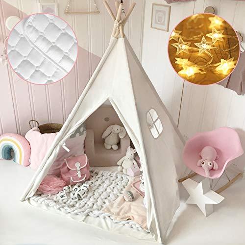 Tenda per Bambini- Alto 165 cm Teepee per Tela di Cotone con Coperta & Fata Luci & Borsa- Tenda Indiana...