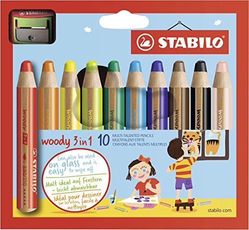 Matita colorata Multi-Funzione - STABILO woody 3 in 1 - Astuccio da 10 - con Temperino - Colori assortiti
