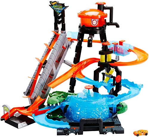 Hot Wheels Mega Autolavaggio Playset per Macchinine con Pista Selvaggia e Coccodrillo, Torre dell'Acqua,...