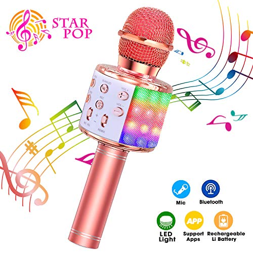 ShinePick Microfono Karaoke, 4 in 1 Bluetooth Wireless LED Flash Microfono Portatile Karaoke Player con...