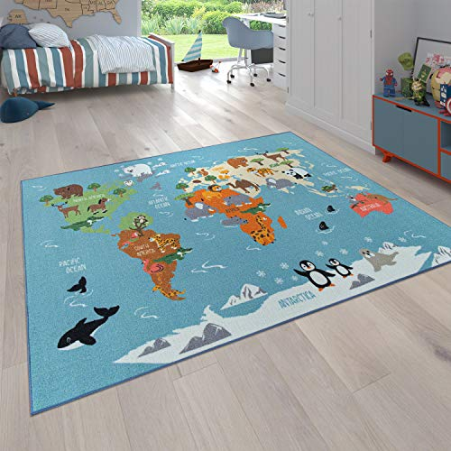 Tappeto per Bambini, Tappeto da Gioco per Le camere dei Bambini, Mappa del Mondo con Animali, in Verde,...