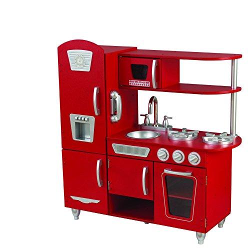 Kidkraft 53173 Cucina Giocattolo in Legno per Bambini Vintage con Telefonino Incluso, Rosso
