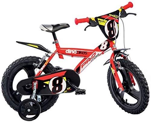 Dino Bikes 143 GLN bicicletta 14' serie 23 con rotelle e doppio freno per bambini dai 4 ai 7 anni