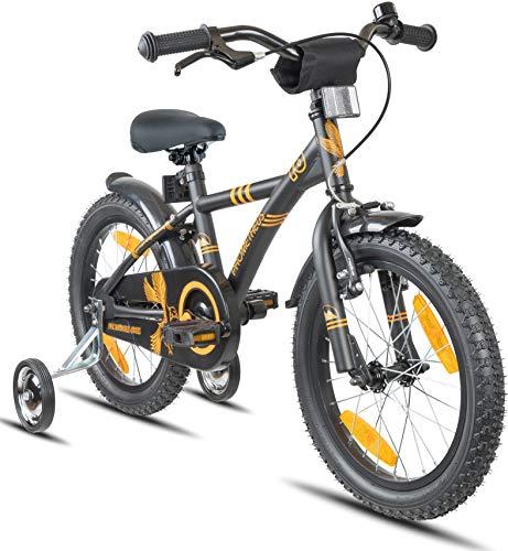 Prometheus Bicicletta per Bambini e Bambine da 5 Anni nei Colori Nero Opaco e Arancione da 16 Pollici con...