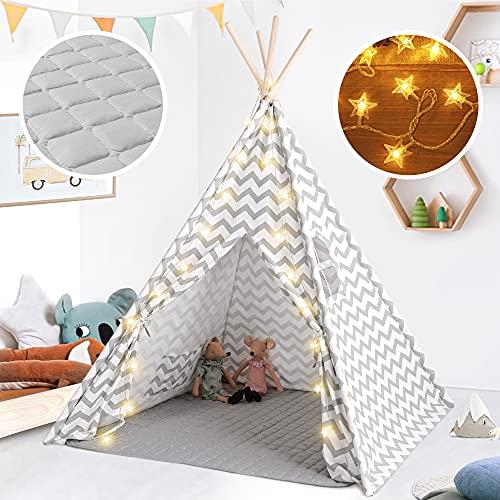 Tiny Land Tenda Bambini Teepee per Ragazzi, 1,6 m Grigio Chevron Tenda per Bambini Giochi per Interni...