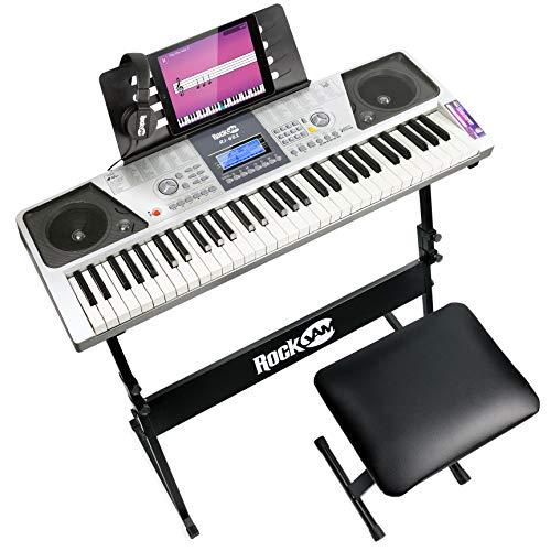 Rockjam 61 Tastiera Kit Pianoforte 61 Tasti Cuffie Supporto della Tastiera Panchina Tastiera di un...