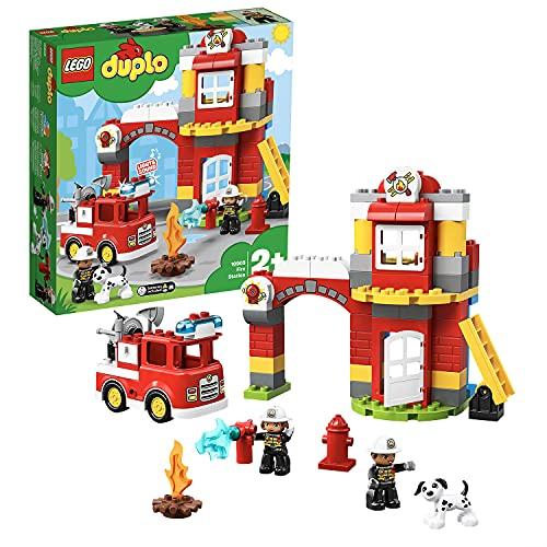 LEGO DuploTown CasermadeiPompieri, Luci e Suoni, Autopompa e 2 Figure dei Pompieri,Giocattoli per...