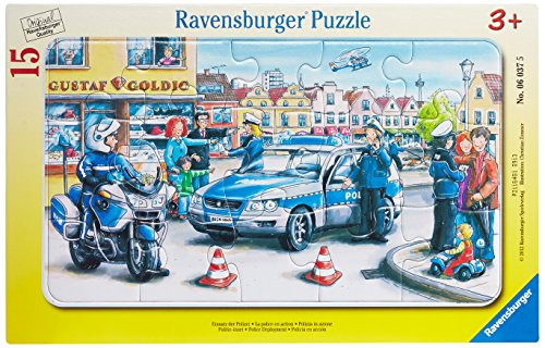 Ravensburger 06037 - Polizia in Azione, Puzzle con Cornice 15 Pezzi