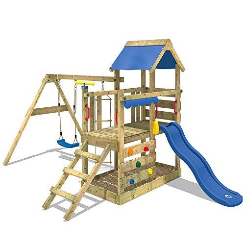 WICKEY Parco giochi in legno TurboFlyer Giochi da giardino con altalena e scivolo blu, Torre...