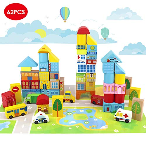Onshine 62 pezzi in Legno Mattoncini per Costruzioni Blocchi Giocattolo Educativi per Bambini
