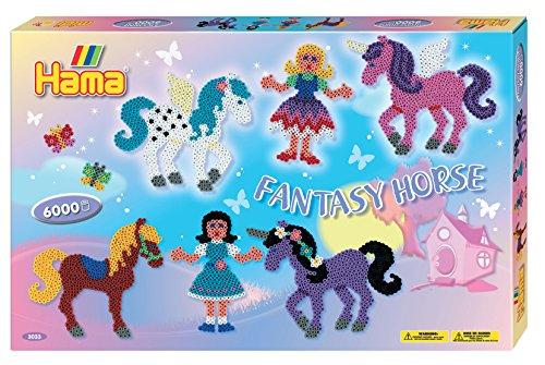 Hama 3033 - Set da Regalo di Perline da Stirare, Soggetto: Cavalli dal Mondo Fantastico, Circa 6000 pz.