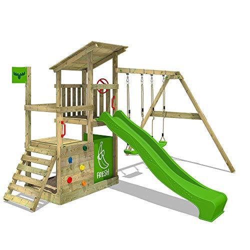 FATMOOSE Parco giochi in legno FruityForest Fun XXL Giochi da giardino con altalena SuperSwing e scivolo...