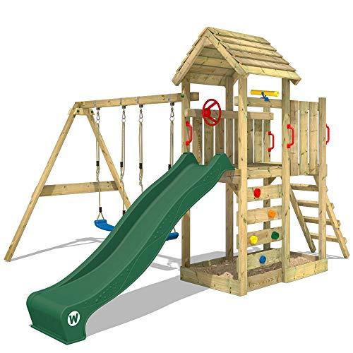 WICKEY Parco giochi in legno MultiFlyer tetto in legno, Giochi da giardino con altalena e scivolo verde,...
