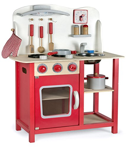 Leomark cucina Classic Rosso, giocattolo in legno, cucina accessoriata per bambini, educazione tavola...