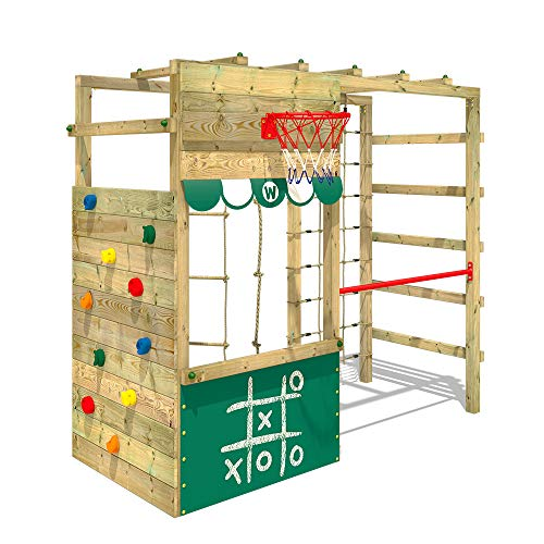 WICKEY Parco giochi in legno Smart Action verde, Scala svedese, Barre di scimmia, Struttura da gioco con...