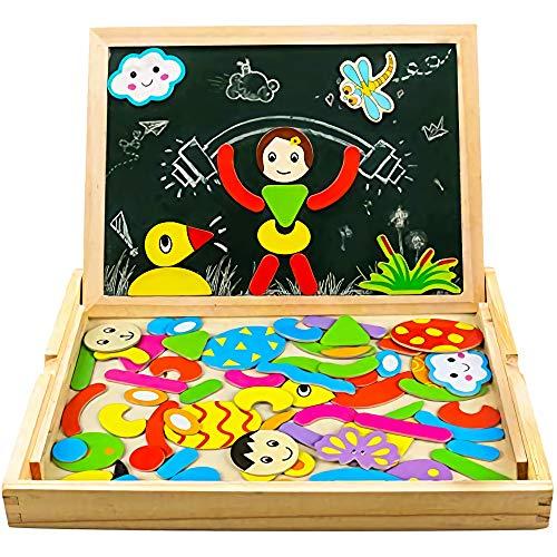 Magnetico Lavagna Puzzle di Legno Giochi Montessori Magnetica Lavagnetta a Double Face Magnetica Puzzle...