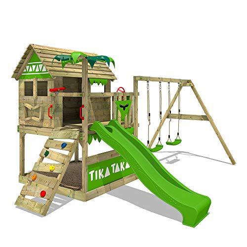 FATMOOSE Parco giochi in legno TikaTaka Giochi da giardino con altalena e scivolo mela verde, Casa su...