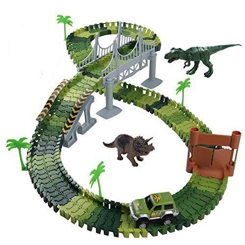 Nuheby Pista Macchinine Dinosauro Giocattolo Auto Giocattolo Pista Flessibile con Blocchi Traccia per...