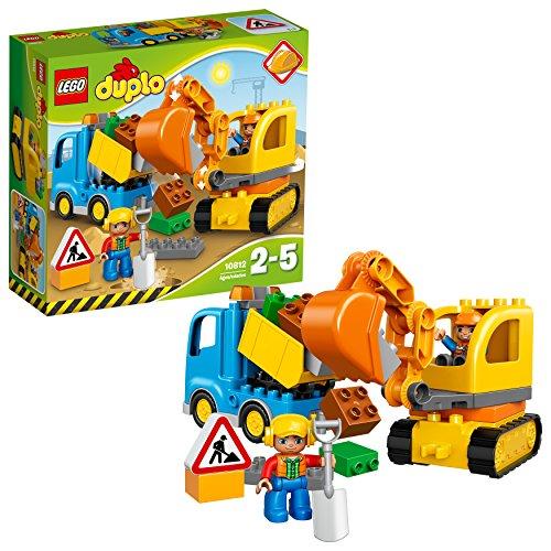 LEGO Duplo Camion e Scavatrice Cingolata con Due Personaggi, Set di Costruzioni per Bambini da 2-5 Anni,...