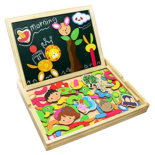 Puzzle Magnetico Legno Lavagna Magnetica Doppio Lato Puzzle di Legno Giochi Educativi per Bambini 3 4 5...