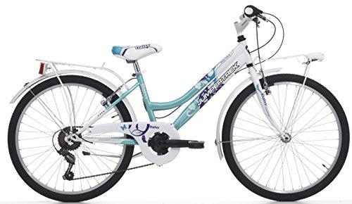 Cicli Cinzia Bicicletta 24' Citybike Daisy per Bimba, 6/V Revo Shift V-Brake Alu. Bianco/Azzurro