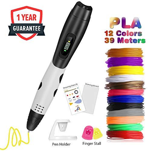 Penna 3D Professionale,Fede Penna 3D con 12 Filamenti 1,75mm PLA Supplementari e Colori Diversi,Ogni di...