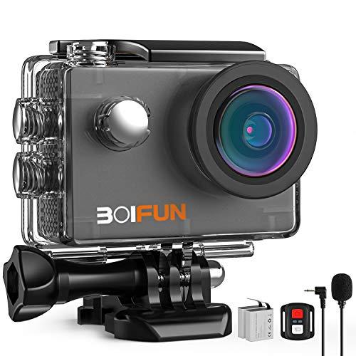 BOIFUN Action Cam 4K HD 20MP WiFi EIS Stabilizzazione con Telecomando e Microfono Esterno 40M...
