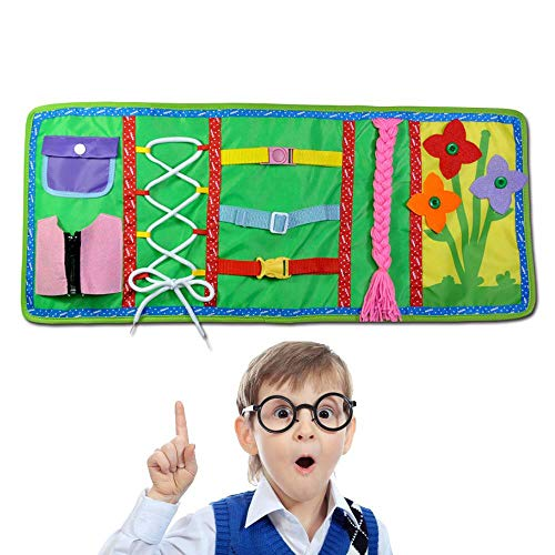 FOONEE Montessori Toys, Libro Educativo Precoce per Imparare chiudere Cerniera, Bottoni, Fibbia, Trecce,...