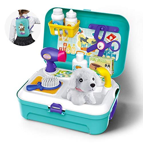 GizmoVine Giochi Bambina 2 Anni Pet Finta Play Set Giochi Neonati Giocattoli con Zaino 16pcs Playset Toys...