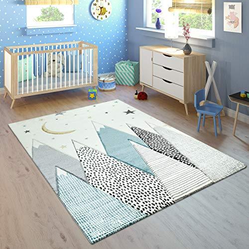 Tappeto per la cameretta dei Bambini con Motivo di Montagna, Luna e Stelle nei Colori Pastello...