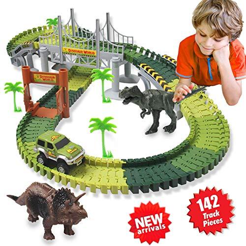 Kit Giocattolo Dinosauro Giurassico Mondiale e 142 Piste Flessibili Contiene 2 Dinosauri,1 Veicolo...