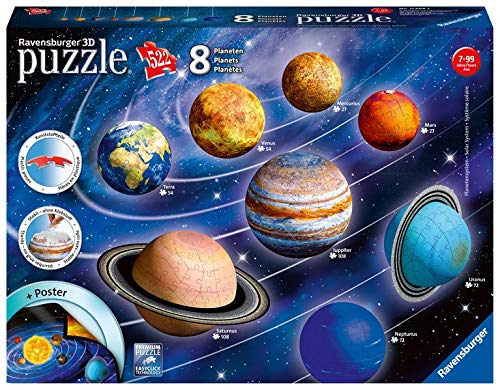 Ravensburger-Il Sistema planetario 3D Puzzleball, Multicolore, 8 pianeti, 11668