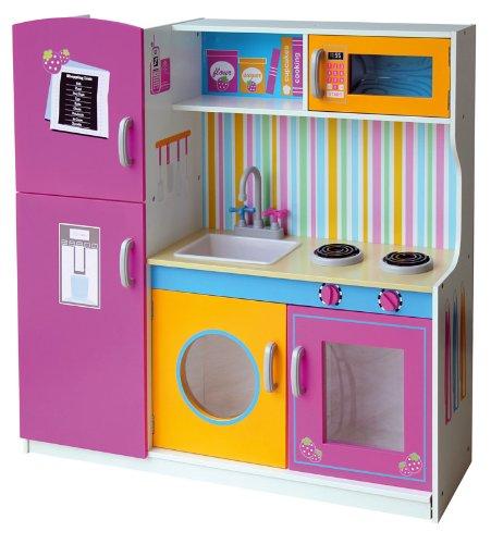 Leomark Grande Cucina Rosa in Legno, Giocattolo per Bambini, Gioco g'imitiazione educazione, tavola...