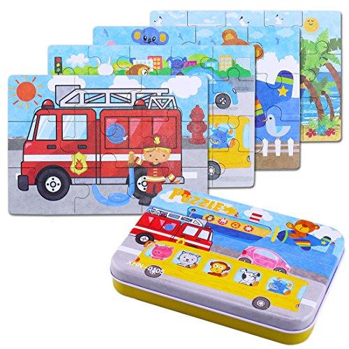BBLIKE Puzzle Legno - 4 Pezzi Giochi Legno Bambini con Confezione in Scatola di Ferro, Macchinina (E)