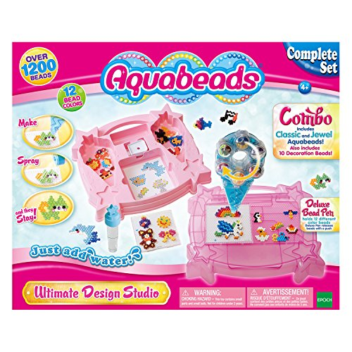 Aqua Beads 65502 - Aquabeads Ultimate Design Studio Playset 1200 pezzi Classic e Jewel Starter Set Bead...