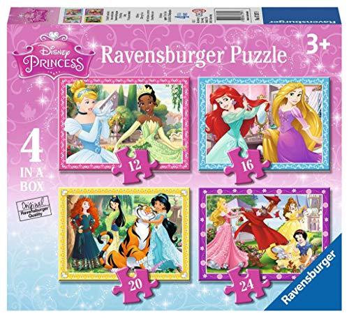 Ravensburger Puzzle 07397 , Principesse Disney, 4 Puzzle in a Box, 12-16-20-24 Pezzi, Puzzle Bambini,...