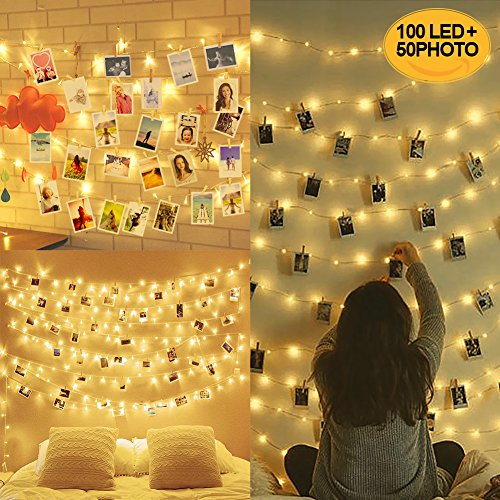 10M 100LED Luci per Foto Polaroid, Lucine Led Decorative per Camere, Porta Foto Mollette, Luci Led Foto...