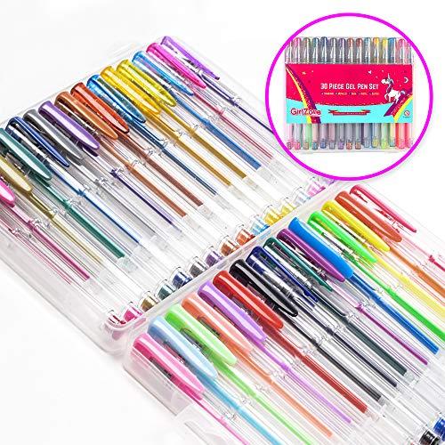 GirlZone Regalo Ragazza - Set di Penne Gel Colorate - 30 Penne Glitter Astuccio con Penne Brillantinate...
